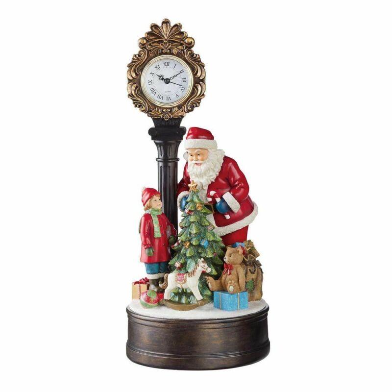 Santa Holiday Clock with LED Christmas Tree