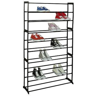 Sunbeam Free Standing 50 Pair, 10 Tier Tower Metal Shoe Storage Rack Black Home & Garden