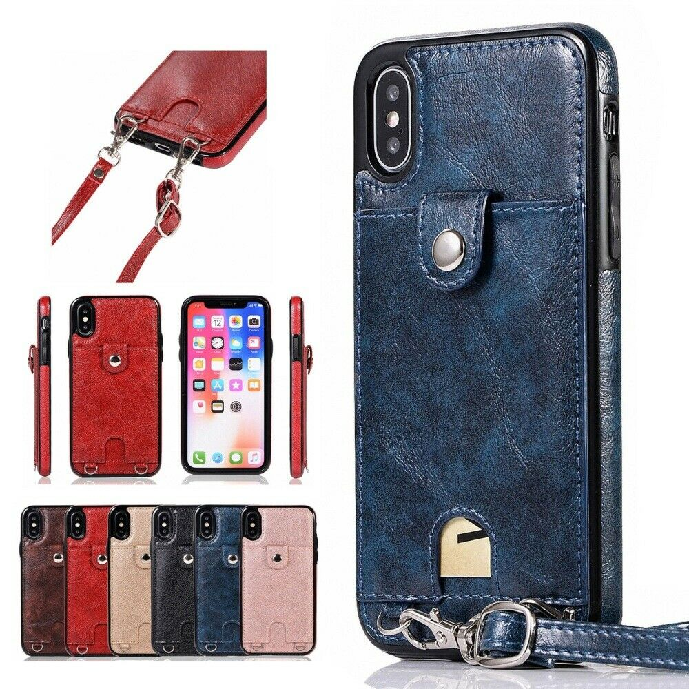 Cross Body Strap Card Slot PU Leather Back Case Cover For iP