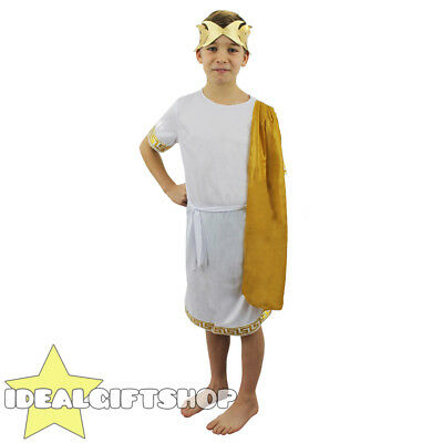 ROMAN BOY COSTUME KIDS HISTORICAL FANCY DRESS SCHOOL BOOK WEEK TUNIC HEADPIECE