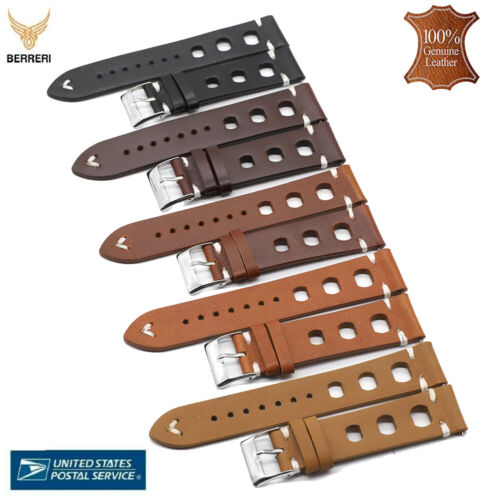 Top Grain Genuine Leather Watch Strap Vintage Thick 18mm 20mm 22mm 24mm In Usa