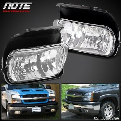 - Clear Fog Lights Driving Bumper Lamp + Bulbs Chevy For 03-06 Silverado Avalanche