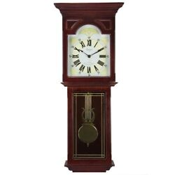 Bedford BED7247 Redwood 23 Grandfather Wall Clock with Pendulum and  4 Chimes