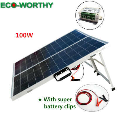 ECO 100W Suitcase Folding Solar Panel 12V Battery Charger Portable Camping for sale  Shipping to South Africa