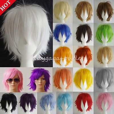 Unisex Cosplay Short Hair Wig Women Men Straight Halloween Party Costume Wigs US