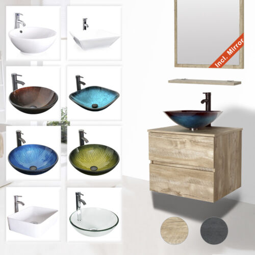 """24"""" Bathroom Vanity Glass Ceramic Sink Combo Wall Mounted 2 Drawers Cabinet Set"""