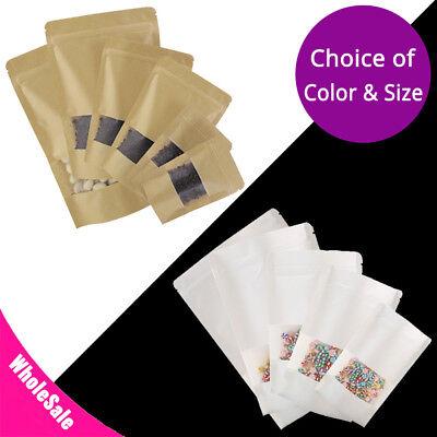 Kraft Paper White Kraft Paper Stand Up Zip Lock Bag W Clear Front Window Sm03