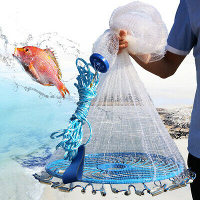 Magic Outdoor Hand Cast Fishing Net Spin Network Easy Throw Bait Mesh -