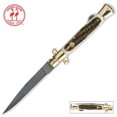 Kissing Crane Burnt Bone Stiletto Knife - Damascus Blade KC5054 New