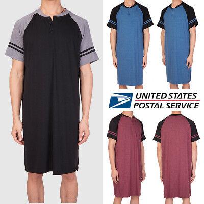 Mens Sleepshirt Short Sleeve Nightgown Raglan Long Night Loose Shirts (Night Long Short)