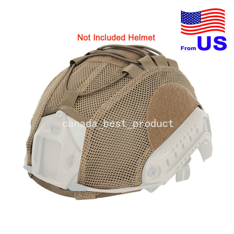 Army Tactical Airsoft Paintball Helmet Mesh Helmet Cover for Fast Helmet TAN USA