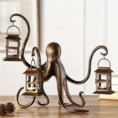 "Octopus Lantern Candle Holder Metal Sculpture Whimsical Coastal Nautical 18""W"