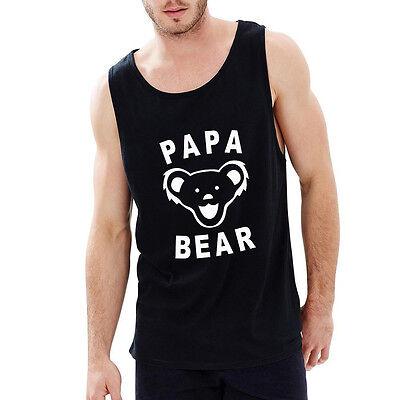 Loo Show Mens Papa Bear Best Dad Ever Tee Grateful Dead Tank