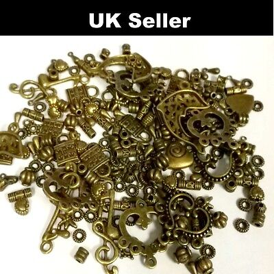 Antique Bronze Mixed Beads Charm Pendants Approx 40-80 Random A0000 / Bronze 30g