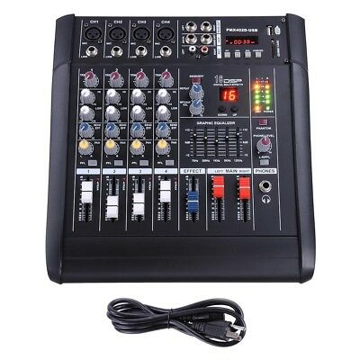 4 Channel Professional Powered USB Mixer Amplifier Amp 16DSP
