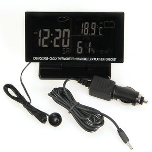 New LCD Screen Digital Clock Car Voltage Weather Forecast Thermometer Hygrometer