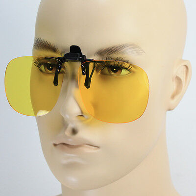 HD HIGH DEFINITION NIGHT DRIVE VISION CLIP ON FLIP UP SUNGLASSES YELLOW