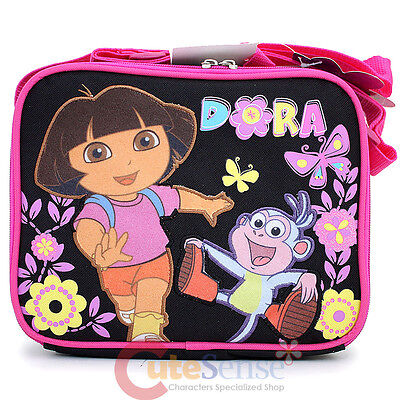 Dora The Explorer Dora & Boots Kids School Lunch Bag insulate Box Flower Garden Dora Black Child Boots