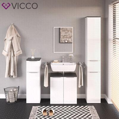 Badezimmer Schrank (VICCO Badezimmerschrank OTIS Weiß Hochschrank Waschtischunterschrank Midischrank)