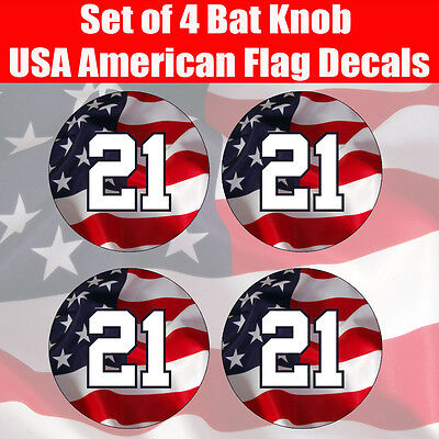 Baseball Softball USA American Flag Bat Decal - Sticker Decal for bat knob