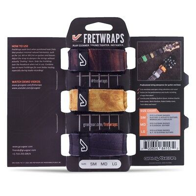 Gruv Gear Fret Wraps FretWraps HD Guitar Bass String Muters 3-Pack Wood Small