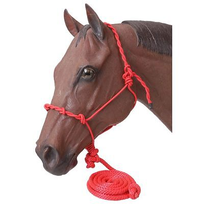 Tough-1 Poly Rope Halter W/Knots & 14ft Lead Red