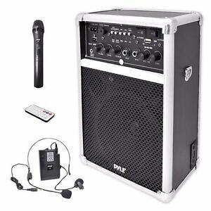 Pyle PWMA170 Dual Channel 400 Watt Wireless PA speaker System w/USB/SD with 1 Lavalier & 1 Handheld Microphone