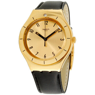 Swatch Irony Quartz Movement Gold Dial Unisex Watch YGG105 **Open Box**