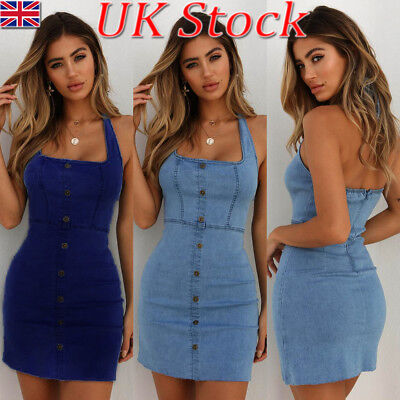 UK Womens Summer Vintage Button Denim Bodycon Casual Jeans Halterneck Mini Dress