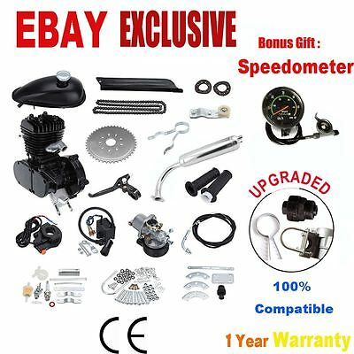 80cc 2 Stroke Motor Engine Kit Gas for Motorized Bicycle Bike w / Speedometer