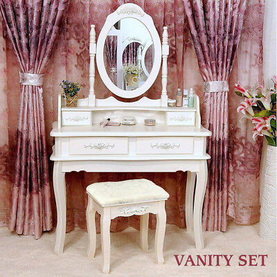 4 Drawer Vanity Makeup Dressing Table Set w/Stool&Mirror Jewelry Wood Desk