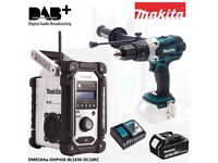 Makita DMR104w White Job Site DAB radio + DHP458 18v combi drill + BL1830 3.0ah battery & Charger