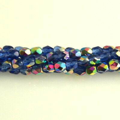Sapphire Blue - 50 4mm Vitrail Round Fire Polish Czech Glass Beads