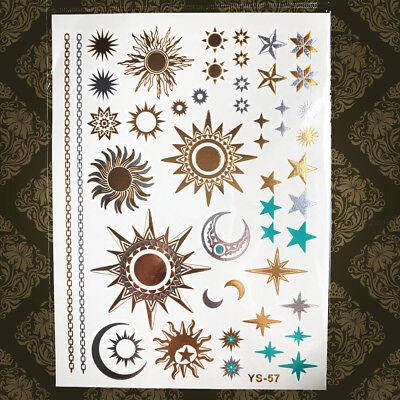 Moon Tattoo - Gold Star Temporary Tattoo Flash Crescent Moon Women Arm Hand Metallic Stickers