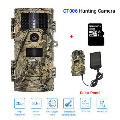 Gb-20 Digitalkamera (8 GB + 20 MP 1080 P Wildlife Trail Kamera Home Security Infrarot 8 GB + Solar)