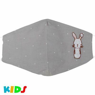 Kinder Stoffmaske Mundschutz Maske Hase Kaninchen Comic Pastell Grün Kindermaske