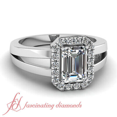 1.25 Ct Emerald Cut Halo Diamond Split Band Womens Engagement Rings Pave Set GIA