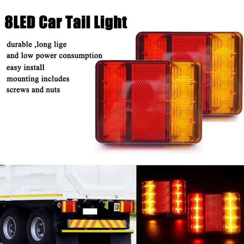 Car Parts - 2x 12V LED Rear Tail Stop Light Indicator Lights Trailer Caravan Van Truck Lorry