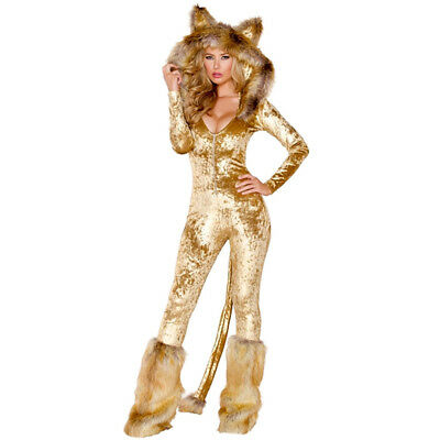 Furry Fox Sexy Women's Costume Animal Carnival Leopard Halloween Evening Party ()