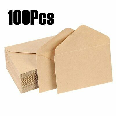 100pcs Brown Kraft Manila Envelopes For Greeting Card Letter-4.1x2.7inch