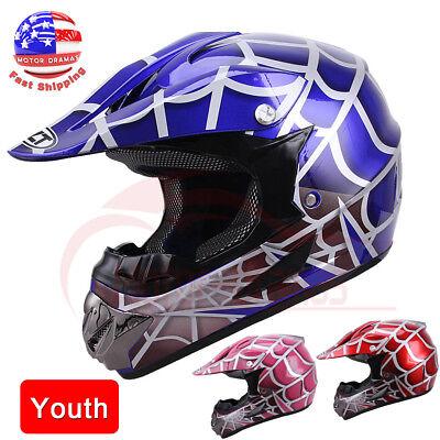 DOT Youth Kids Red Pink Blue Spider Net Motocross Off-Road Motorcycle ATV Helmet