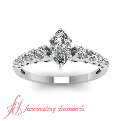 .90 Ct Marquise Cut Untreated Diamond Escalating Elegance Engagement Ring GIA 1