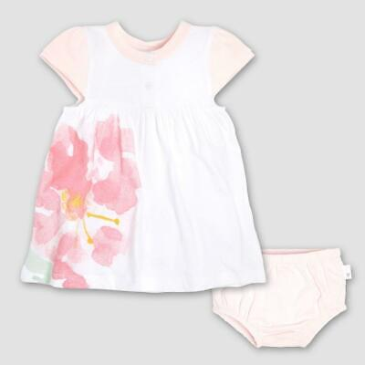 Burt's Bees Baby Girls' Organic Cotton Watercolor Bloom Dress & Diaper Cover Set