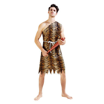 Tiger Costume For Men (Men's Tiger skin Savage Dress Up Costume Cosplay Halloween Party)