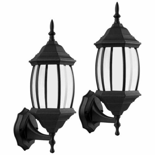2 Piece Outdoor Exterior Wall Lantern Light Fixture Sconce Lamp Twin Pack Matte Black