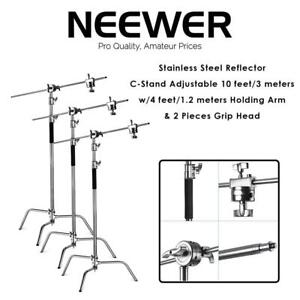 NEW Neewer Pro Stainless Steel Reflector C-Stand Adjustable 10 feet/3 meters w/4 feet/1.2 meters Holding Arm  2 Piece...