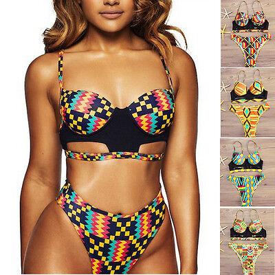 Damen afrikanische Muster Bikini Satz Bademode Push-Up Gepolsterter BH Badeanzug