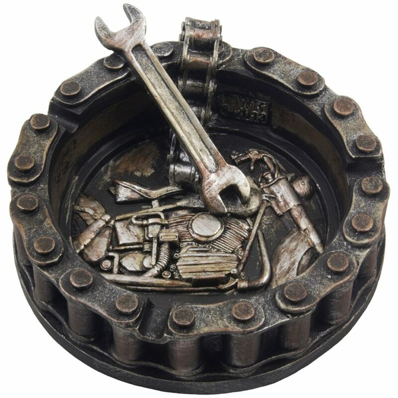 Decorative Motorcycle Chain Ashtray with Wrench and Bike Motif Great for a
