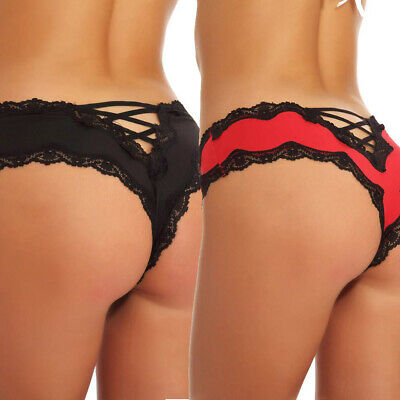Women Thong Underwear Exotic Sexy V-Back Criss Cross Sexy Lace Briefs Panties US