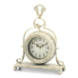 Vintage Tabletop Clock - French Country Style W/ Antique White Finish - 12.5 H